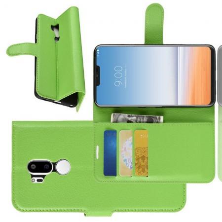 Флип чехол книжка с кошельком подставкой отделениями для карт и магнитной застежкой для LG G7 ThinQ Зеленый