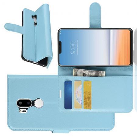 Флип чехол книжка с кошельком подставкой отделениями для карт и магнитной застежкой для LG G7 ThinQ Голубой