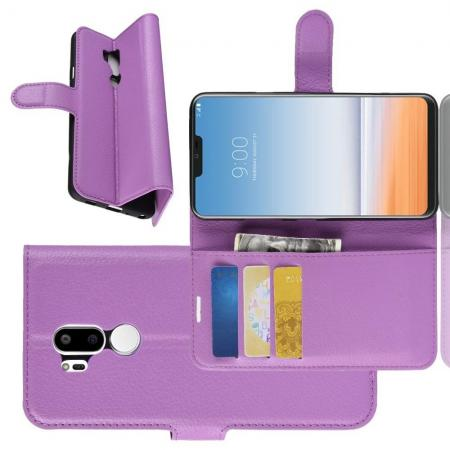 Флип чехол книжка с кошельком подставкой отделениями для карт и магнитной застежкой для LG G7 ThinQ Фиолетовый