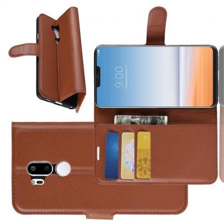 Флип чехол книжка с кошельком подставкой отделениями для карт и магнитной застежкой для LG G7 ThinQ Коричневый