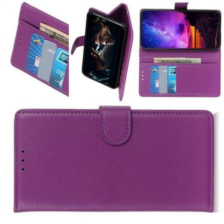 Флип чехол книжка с кошельком подставкой отделениями для карт и магнитной застежкой для LG G8s ThinQ Фиолетовый