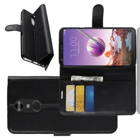 Флип чехол книжка с кошельком подставкой отделениями для карт и магнитной застежкой для LG Q Stylus+ Черный
