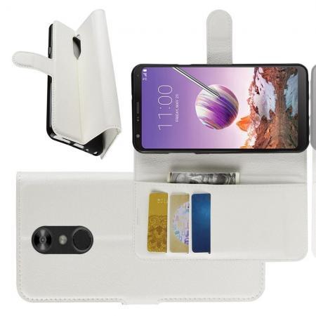 Флип чехол книжка с кошельком подставкой отделениями для карт и магнитной застежкой для LG Q Stylus+ Белый