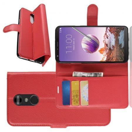 Флип чехол книжка с кошельком подставкой отделениями для карт и магнитной застежкой для LG Q Stylus+ Красный