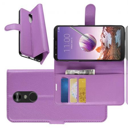 Флип чехол книжка с кошельком подставкой отделениями для карт и магнитной застежкой для LG Q Stylus+ Фиолетовый