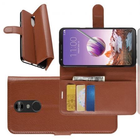 Флип чехол книжка с кошельком подставкой отделениями для карт и магнитной застежкой для LG Q Stylus+ Коричневый