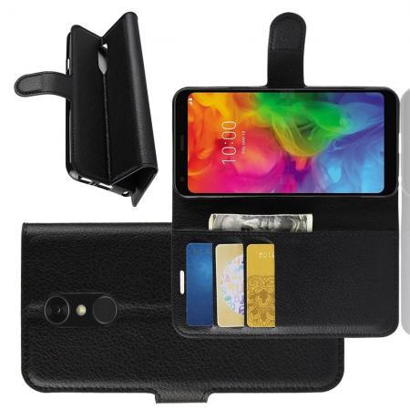 Флип чехол книжка с кошельком подставкой отделениями для карт и магнитной застежкой для LG Q7 / Q7+ / Q7a Черный