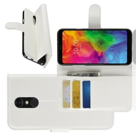 Флип чехол книжка с кошельком подставкой отделениями для карт и магнитной застежкой для LG Q7 / Q7+ / Q7a Белый
