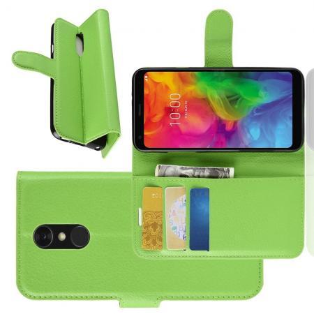 Флип чехол книжка с кошельком подставкой отделениями для карт и магнитной застежкой для LG Q7 / Q7+ / Q7a Зеленый