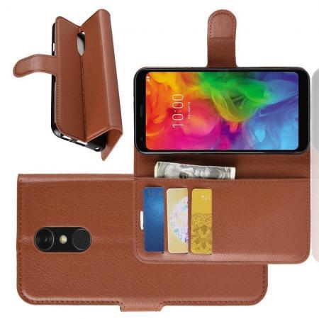 Флип чехол книжка с кошельком подставкой отделениями для карт и магнитной застежкой для LG Q7 / Q7+ / Q7a Коричневый