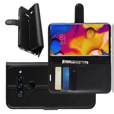 Флип чехол книжка с кошельком подставкой отделениями для карт и магнитной застежкой для LG V40 ThinQ Черный