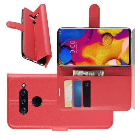 Флип чехол книжка с кошельком подставкой отделениями для карт и магнитной застежкой для LG V40 ThinQ Красный