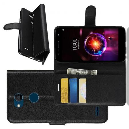 Флип чехол книжка с кошельком подставкой отделениями для карт и магнитной застежкой для LG X Power 3 Черный