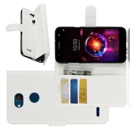 Флип чехол книжка с кошельком подставкой отделениями для карт и магнитной застежкой для LG X Power 3 Белый