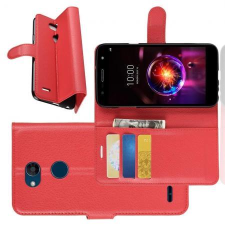 Флип чехол книжка с кошельком подставкой отделениями для карт и магнитной застежкой для LG X Power 3 Красный