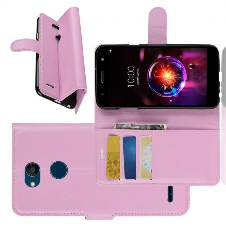 Флип чехол книжка с кошельком подставкой отделениями для карт и магнитной застежкой для LG X Power 3 Фиолетовый