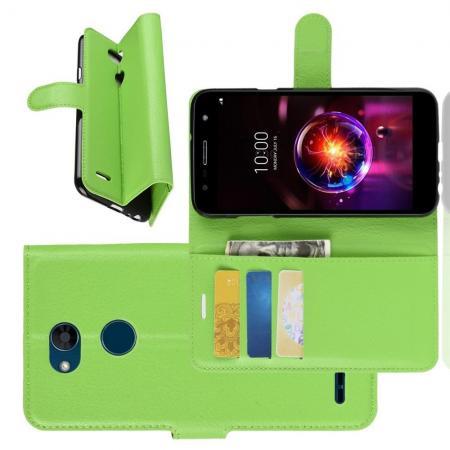Флип чехол книжка с кошельком подставкой отделениями для карт и магнитной застежкой для LG X Power 3 Зеленый