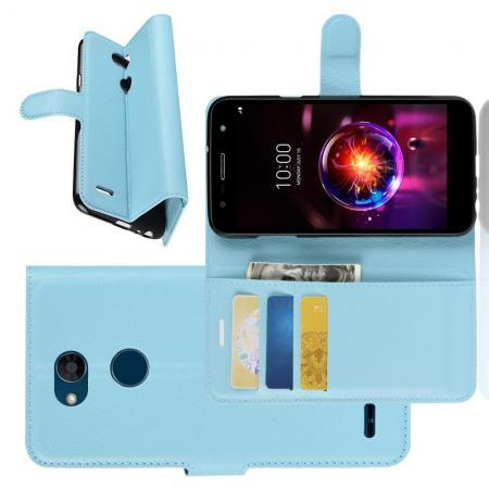 Флип чехол книжка с кошельком подставкой отделениями для карт и магнитной застежкой для LG X Power 3 Голубой
