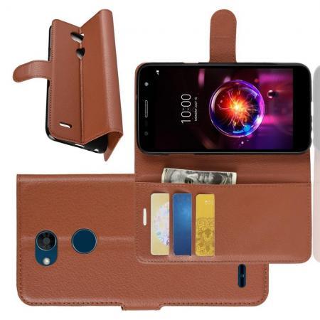 Флип чехол книжка с кошельком подставкой отделениями для карт и магнитной застежкой для LG X Power 3 Коричневый