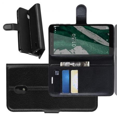 Флип чехол книжка с кошельком подставкой отделениями для карт и магнитной застежкой для Nokia 1 Plus Черный