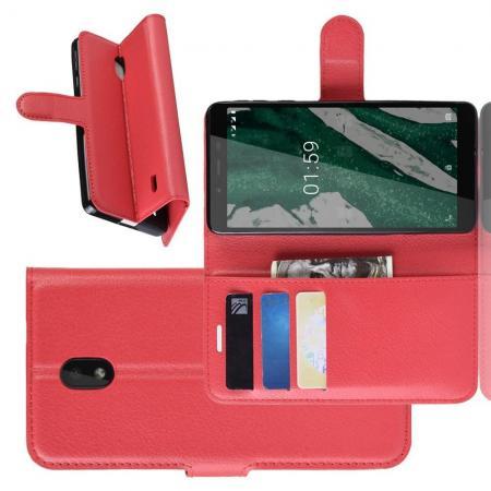 Флип чехол книжка с кошельком подставкой отделениями для карт и магнитной застежкой для Nokia 1 Plus Красный