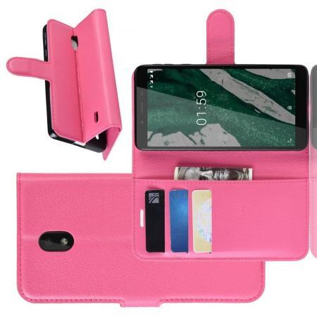 Флип чехол книжка с кошельком подставкой отделениями для карт и магнитной застежкой для Nokia 1 Plus Розовый