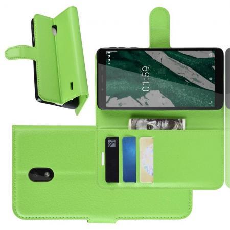 Флип чехол книжка с кошельком подставкой отделениями для карт и магнитной застежкой для Nokia 1 Plus Зеленый