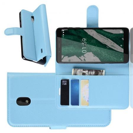 Флип чехол книжка с кошельком подставкой отделениями для карт и магнитной застежкой для Nokia 1 Plus Голубой