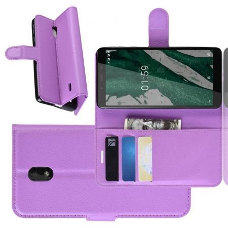 Флип чехол книжка с кошельком подставкой отделениями для карт и магнитной застежкой для Nokia 1 Plus Фиолетовый