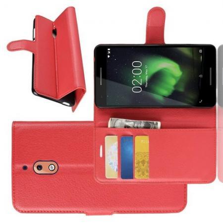 Флип чехол книжка с кошельком подставкой отделениями для карт и магнитной застежкой для Nokia 2.1 2018 Красный