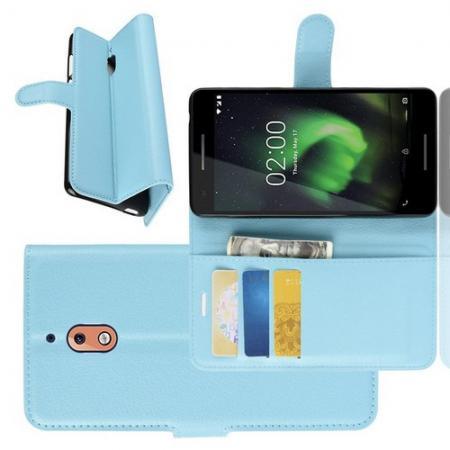 Флип чехол книжка с кошельком подставкой отделениями для карт и магнитной застежкой для Nokia 2.1 2018 Голубой