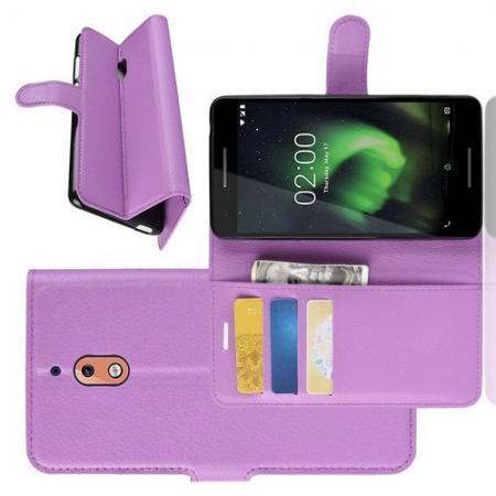 Флип чехол книжка с кошельком подставкой отделениями для карт и магнитной застежкой для Nokia 2.1 2018 Фиолетовый