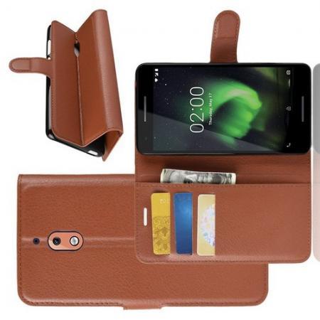 Флип чехол книжка с кошельком подставкой отделениями для карт и магнитной застежкой для Nokia 2.1 2018 Коричневый