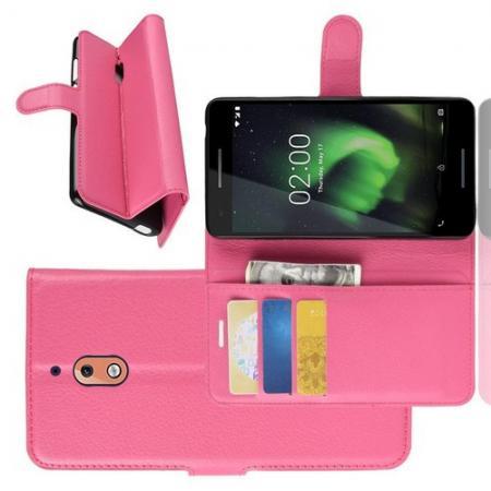 Флип чехол книжка с кошельком подставкой отделениями для карт и магнитной застежкой для Nokia 2.1 2018 Розовый