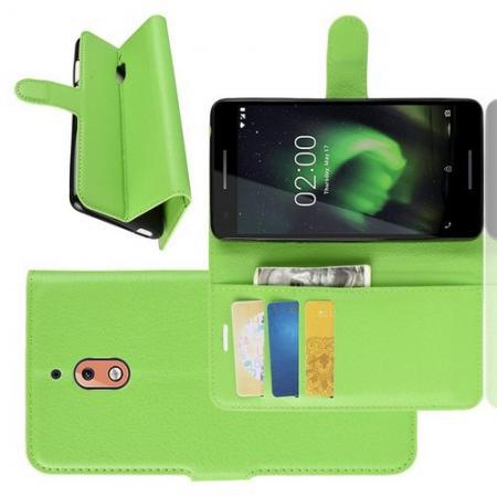 Флип чехол книжка с кошельком подставкой отделениями для карт и магнитной застежкой для Nokia 2.1 2018 Зеленый