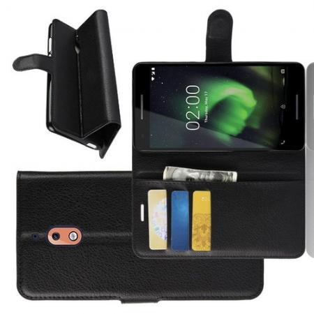 Флип чехол книжка с кошельком подставкой отделениями для карт и магнитной застежкой для Nokia 2.1 2018 Черный
