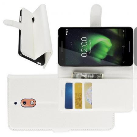 Флип чехол книжка с кошельком подставкой отделениями для карт и магнитной застежкой для Nokia 2.1 2018 Белый