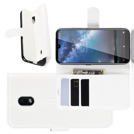 Флип чехол книжка с кошельком подставкой отделениями для карт и магнитной застежкой для Nokia 2.2 Белый