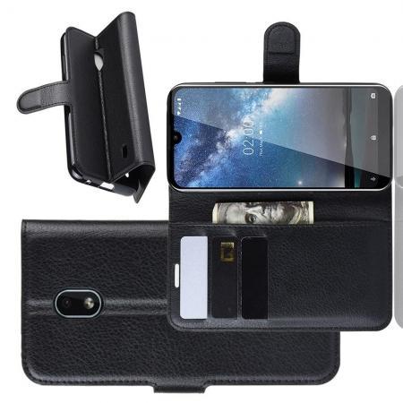 Флип чехол книжка с кошельком подставкой отделениями для карт и магнитной застежкой для Nokia 2.2 Черный