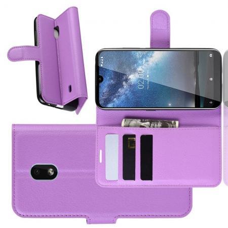 Флип чехол книжка с кошельком подставкой отделениями для карт и магнитной застежкой для Nokia 2.2 Фиолетовый