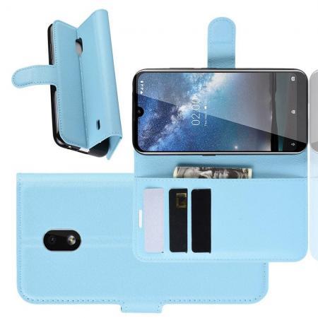 Флип чехол книжка с кошельком подставкой отделениями для карт и магнитной застежкой для Nokia 2.2 Голубой