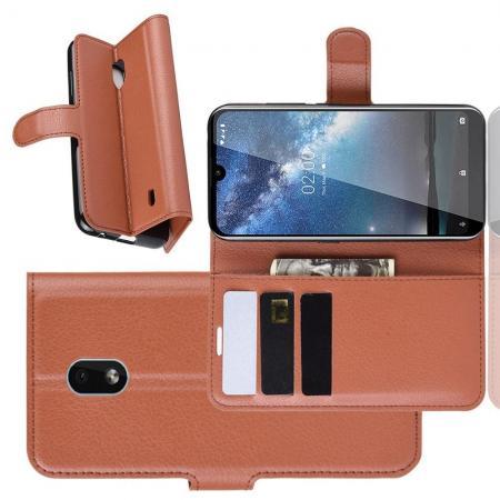 Флип чехол книжка с кошельком подставкой отделениями для карт и магнитной застежкой для Nokia 2.2 Коричневый