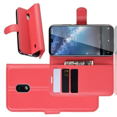 Флип чехол книжка с кошельком подставкой отделениями для карт и магнитной застежкой для Nokia 2.2 Красный