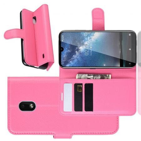 Флип чехол книжка с кошельком подставкой отделениями для карт и магнитной застежкой для Nokia 2.2 Розовый
