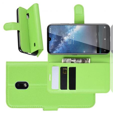 Флип чехол книжка с кошельком подставкой отделениями для карт и магнитной застежкой для Nokia 2.2 Зеленый