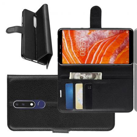 Флип чехол книжка с кошельком подставкой отделениями для карт и магнитной застежкой для Nokia 3.1 Plus Черный