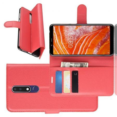 Флип чехол книжка с кошельком подставкой отделениями для карт и магнитной застежкой для Nokia 3.1 Plus Красный