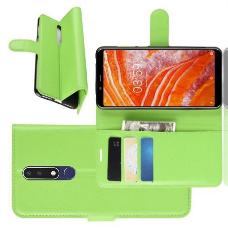Флип чехол книжка с кошельком подставкой отделениями для карт и магнитной застежкой для Nokia 3.1 Plus Зеленый