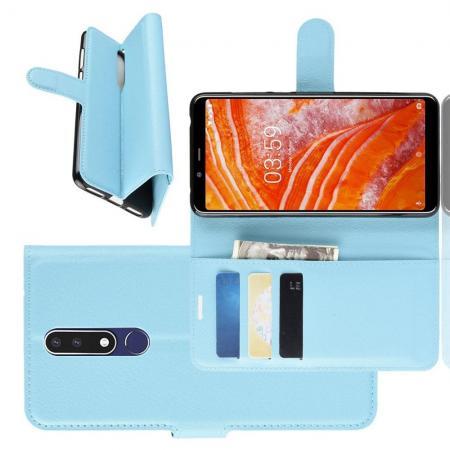 Флип чехол книжка с кошельком подставкой отделениями для карт и магнитной застежкой для Nokia 3.1 Plus Голубой