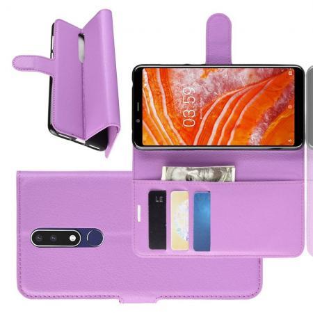 Флип чехол книжка с кошельком подставкой отделениями для карт и магнитной застежкой для Nokia 3.1 Plus Фиолетовый
